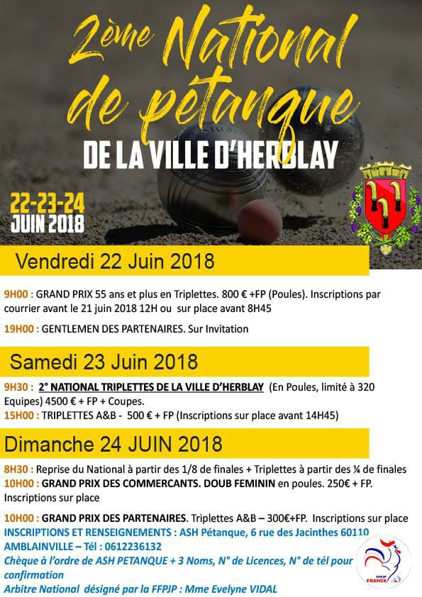 2 me national d 39 herblay 2018 comp titions rankings petanque - Piscine herblay ...
